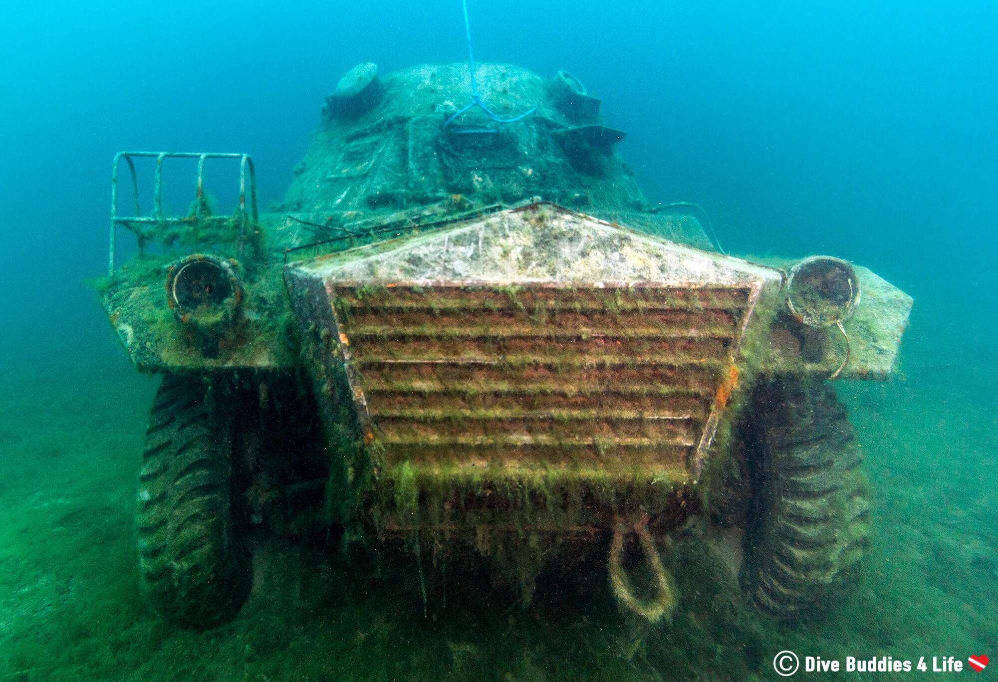 The Front Part Of A Sunken Army Vehicle Underwater At Chepstow, Wales, UK