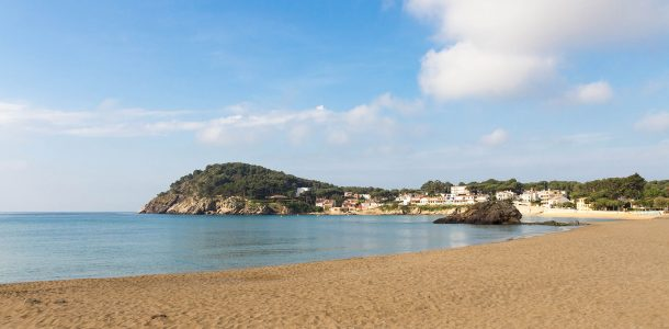 The Golden Beach And Blue Water Of Spain's Famous Costa Brava In Europe
