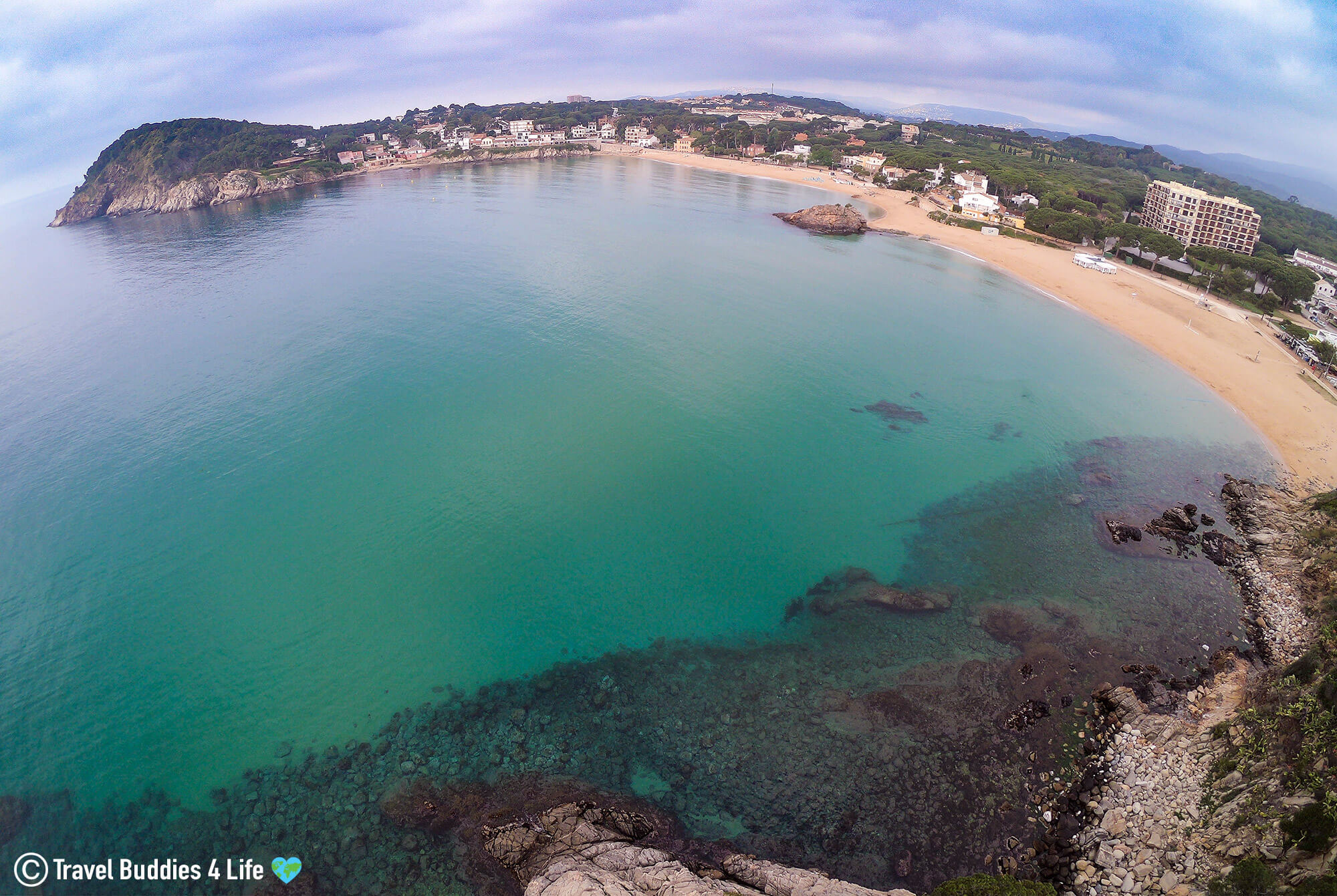 The Golden Sand And Azure Blue Waters Of Spain's Famous Costa Brava, Europe