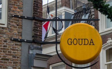The Gouda Sign On A Block Of Cheese