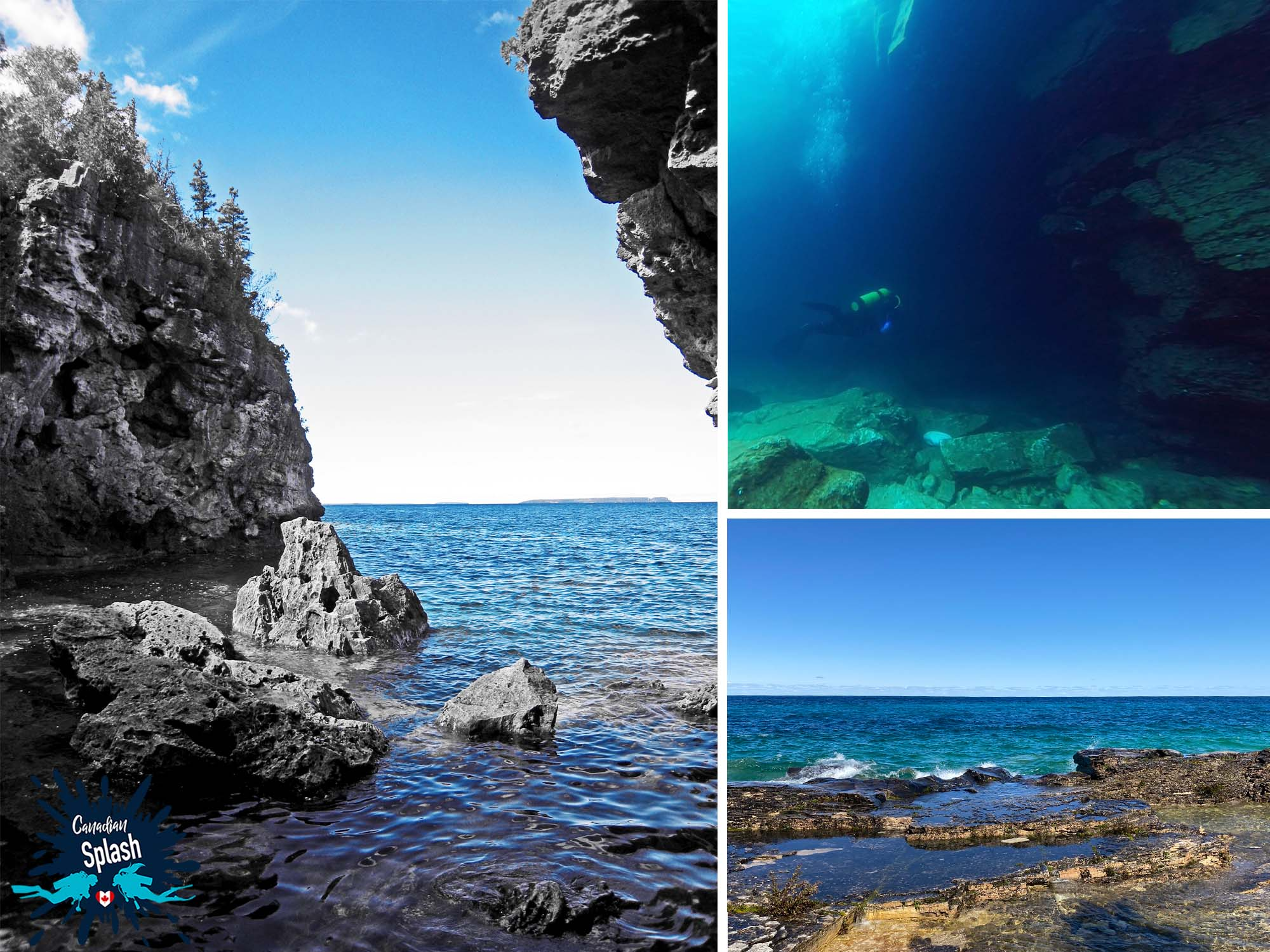 The Grotto Dive Site Cliffs And Underwater View, Tobermory, Ontario, Scuba Diving Canada