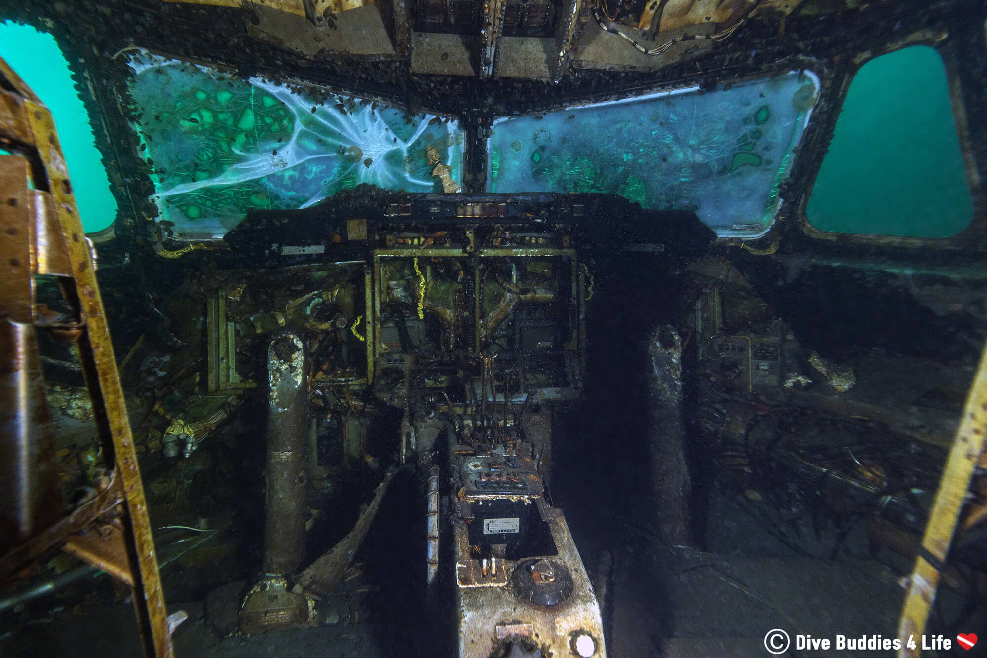 The Inside Cockpit Of A Sunken Airplane In Vobster Quay, England, United Kingdom