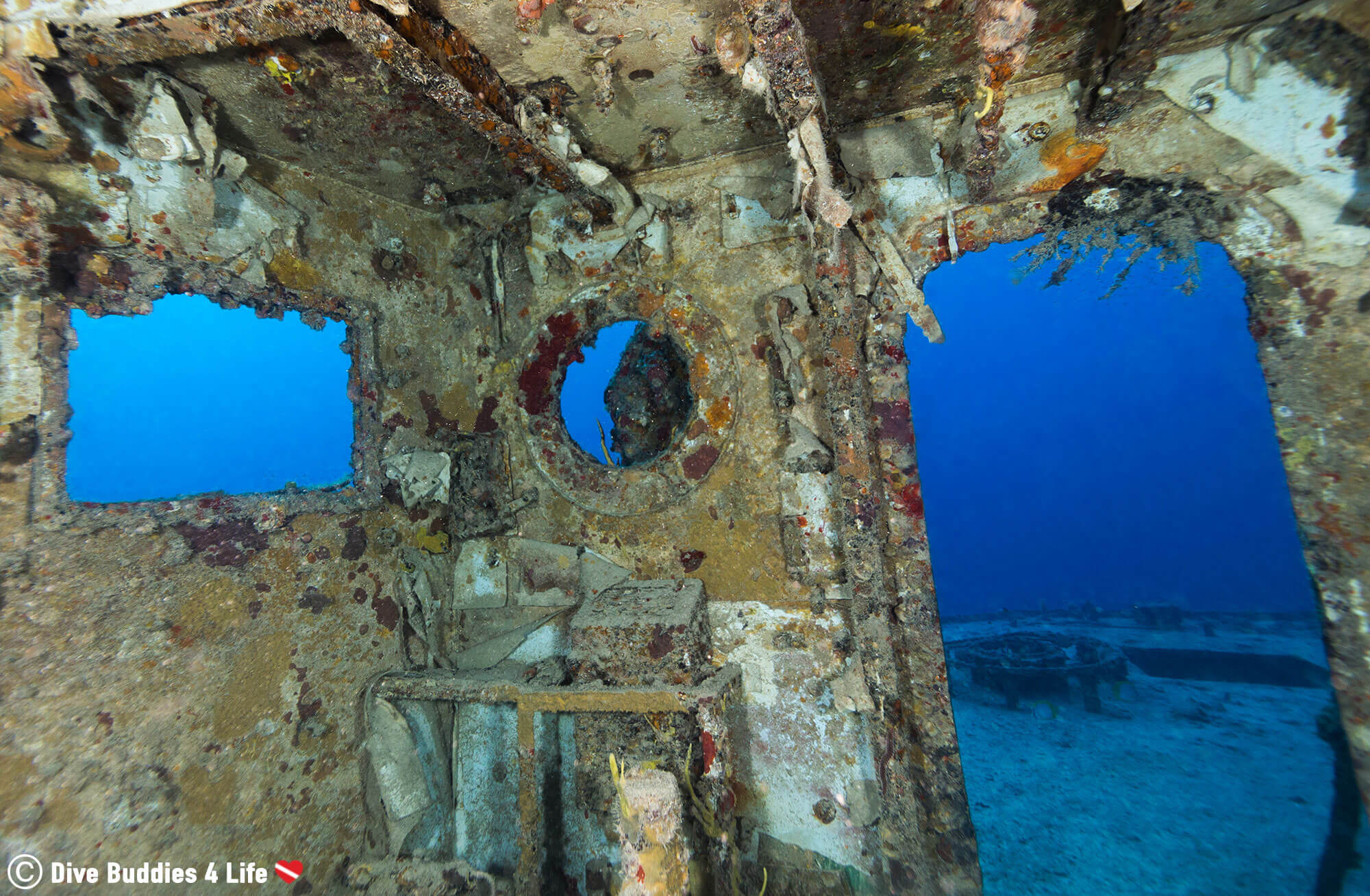 The Inside View Of The Giant Spiegel Grove Shipwreck On Key Largo, Florida, USA