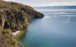 The Macedonian Cliff Side Of Lake Ohrid