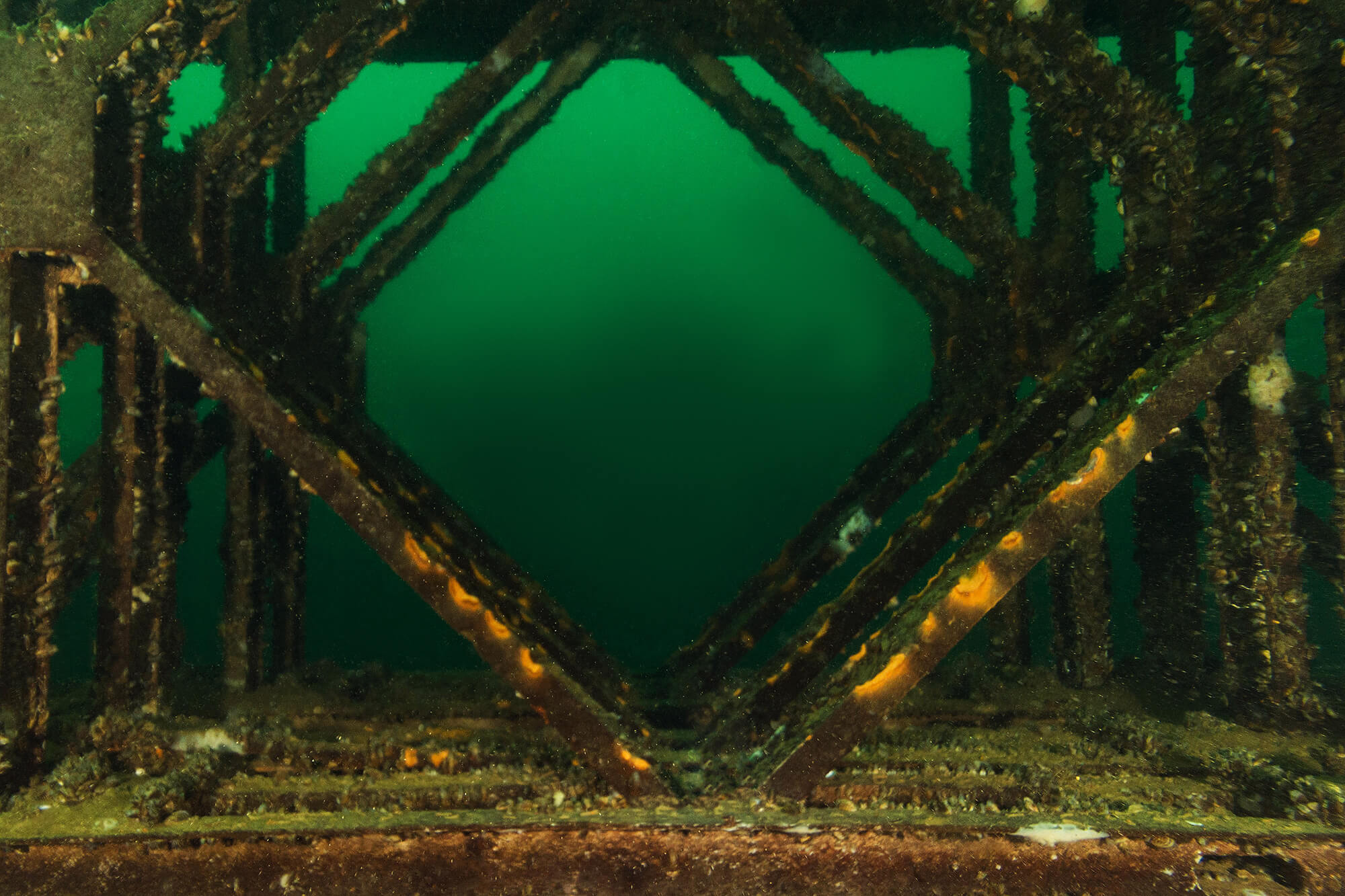 The Metal Frame Of The Crusher Works In Vobster Quay, England's Inland Dive Site, UK