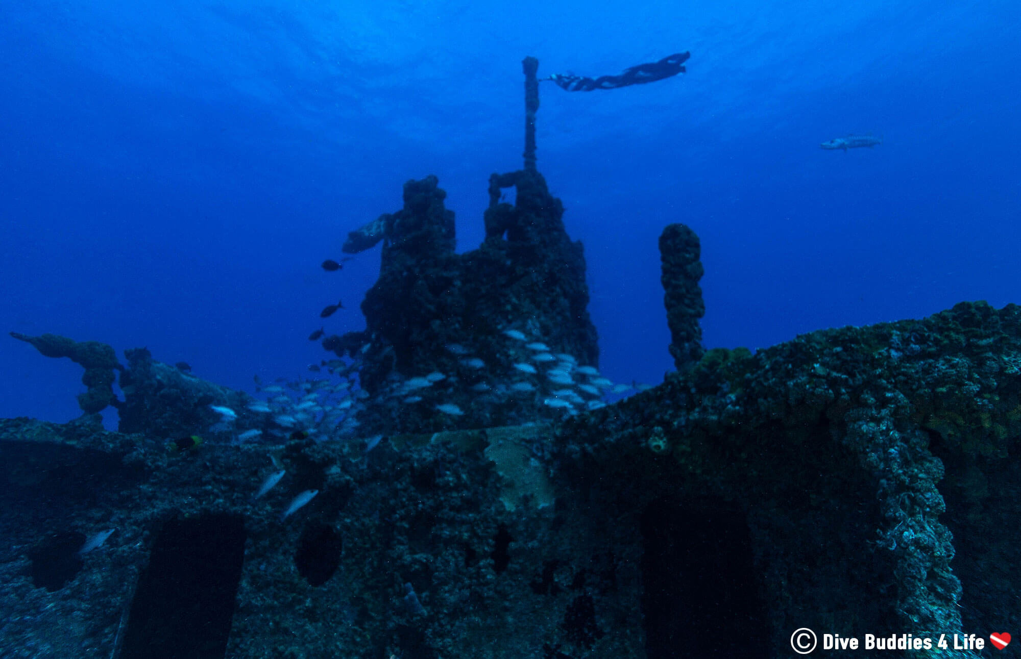 The Top And Flag On The Spiegel Grove Shipwreck, Part Of The Underwater Shipwreck Trail In The Florida Keys, Key Largo, USA Diving