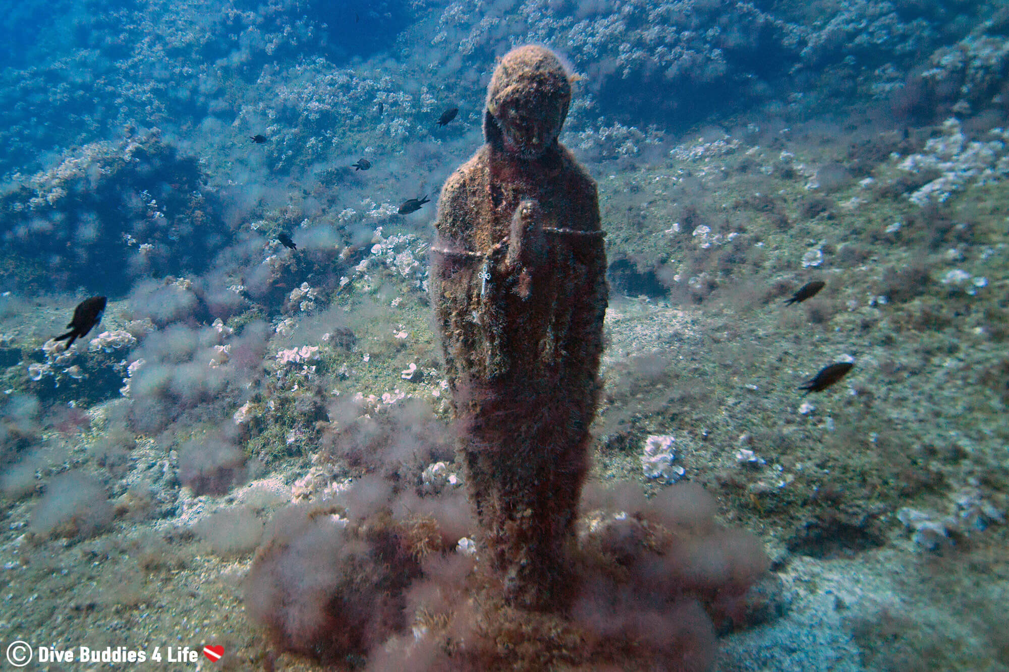 The Underwater Mary Statue In Sorrento, The Amalfi Coast, Italy