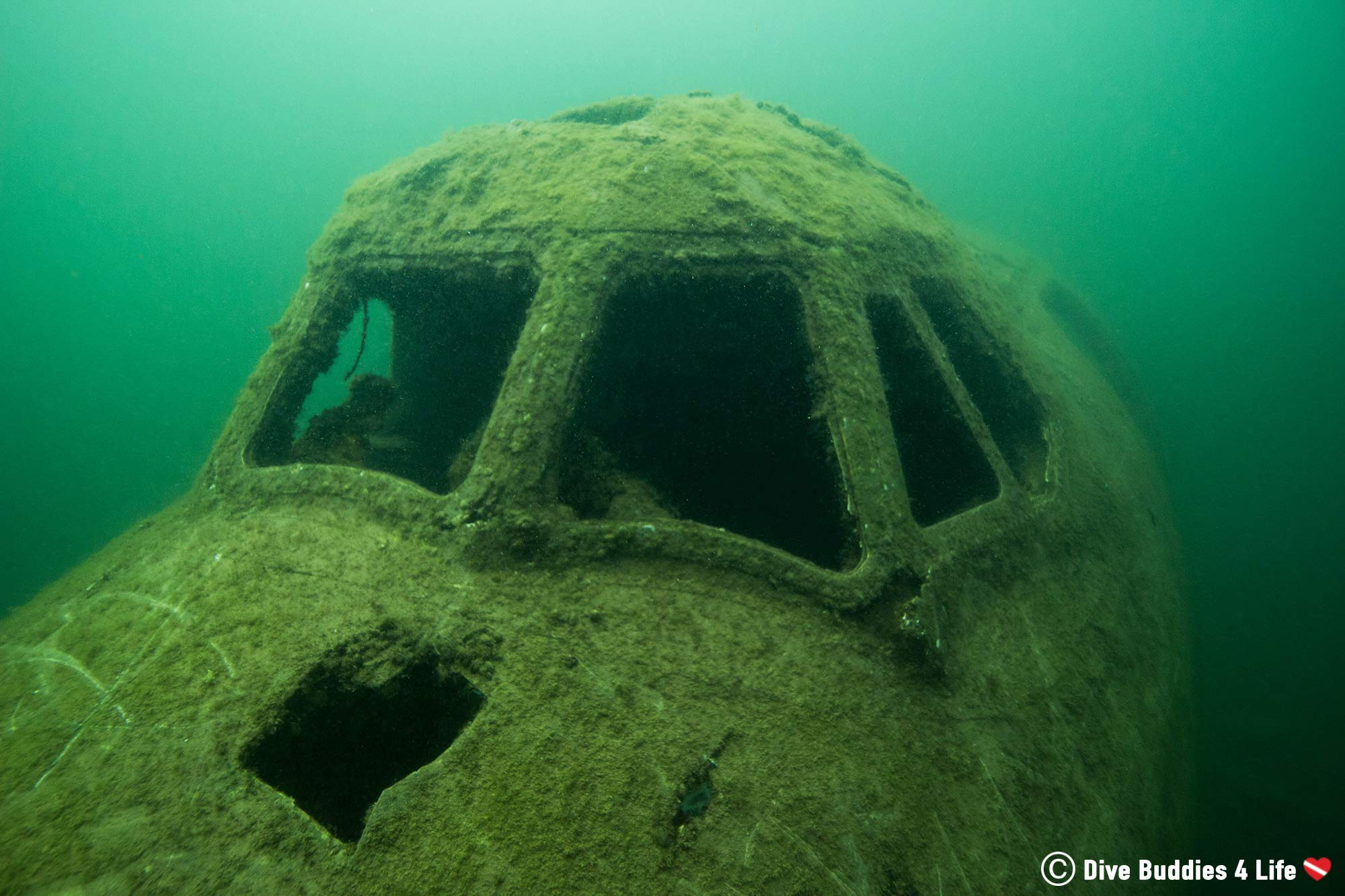 Top Hub Of A Sunken Aeroplane In The Stoney Cove Inland Quarry, England, Europe Scuba Diving