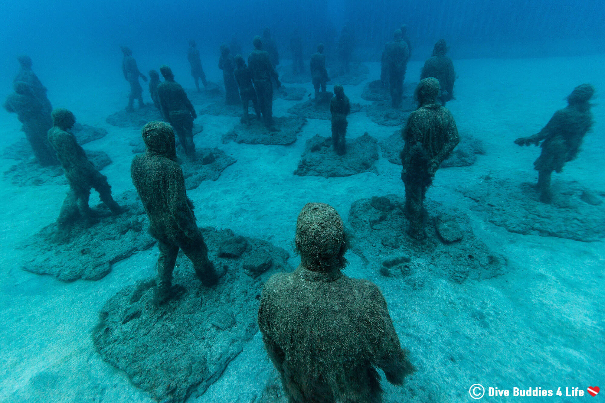 Underwater Statues From The Museo Atlantico In Lanzarote, Canary Islands, Spain