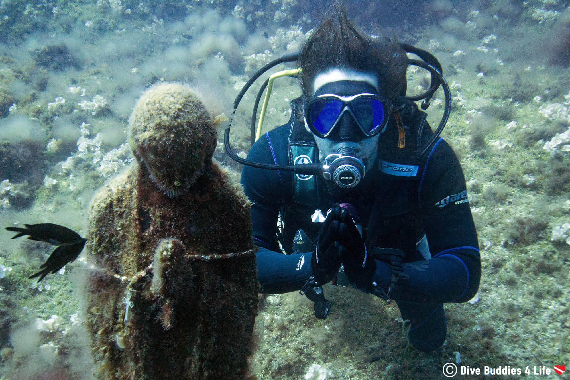 Joey And The Virgin Mary Statue Scuba Diving