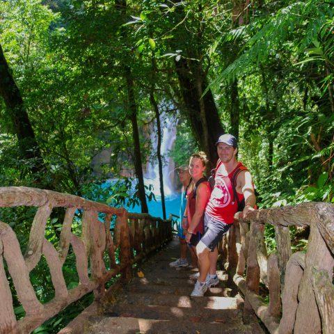 Walking Down to the Rio Celeste Waterfalls in Tenorio Volcano National Park