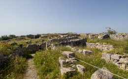 Walking At The Highest Point On Santorini Island Through Ancient Thera Ruins