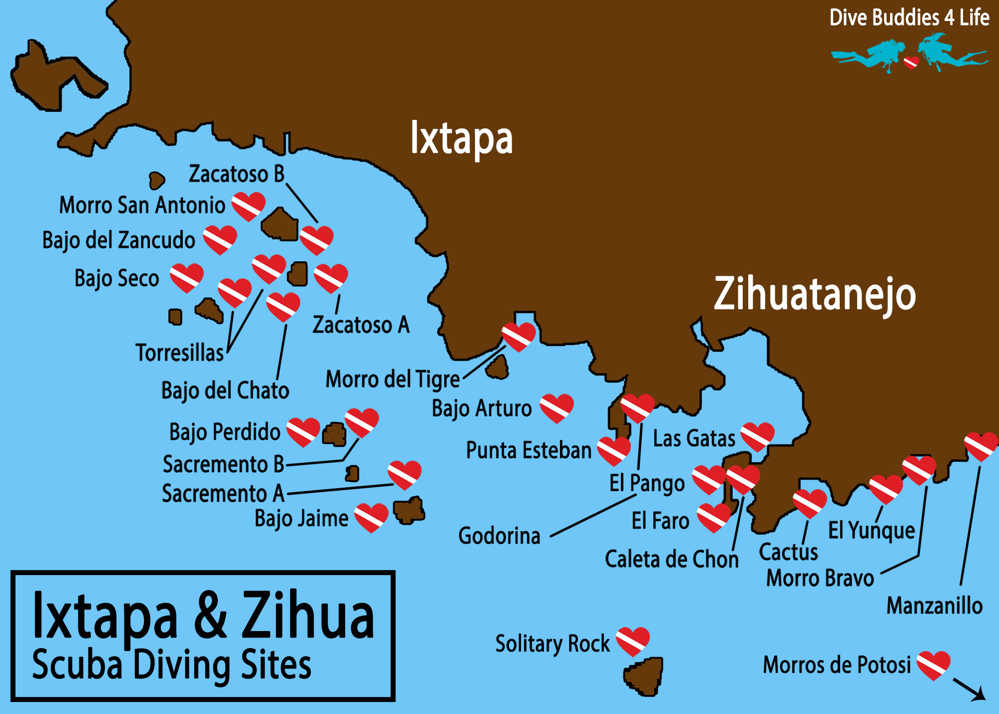 Zihuatanejo And Ixtapa Scuba Diving Site Map