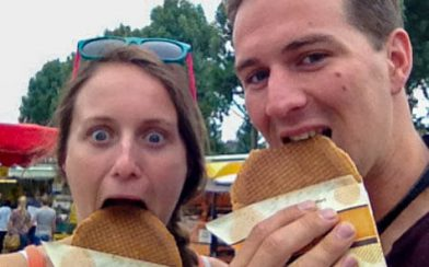 Joey and I Eating Stroopwafels