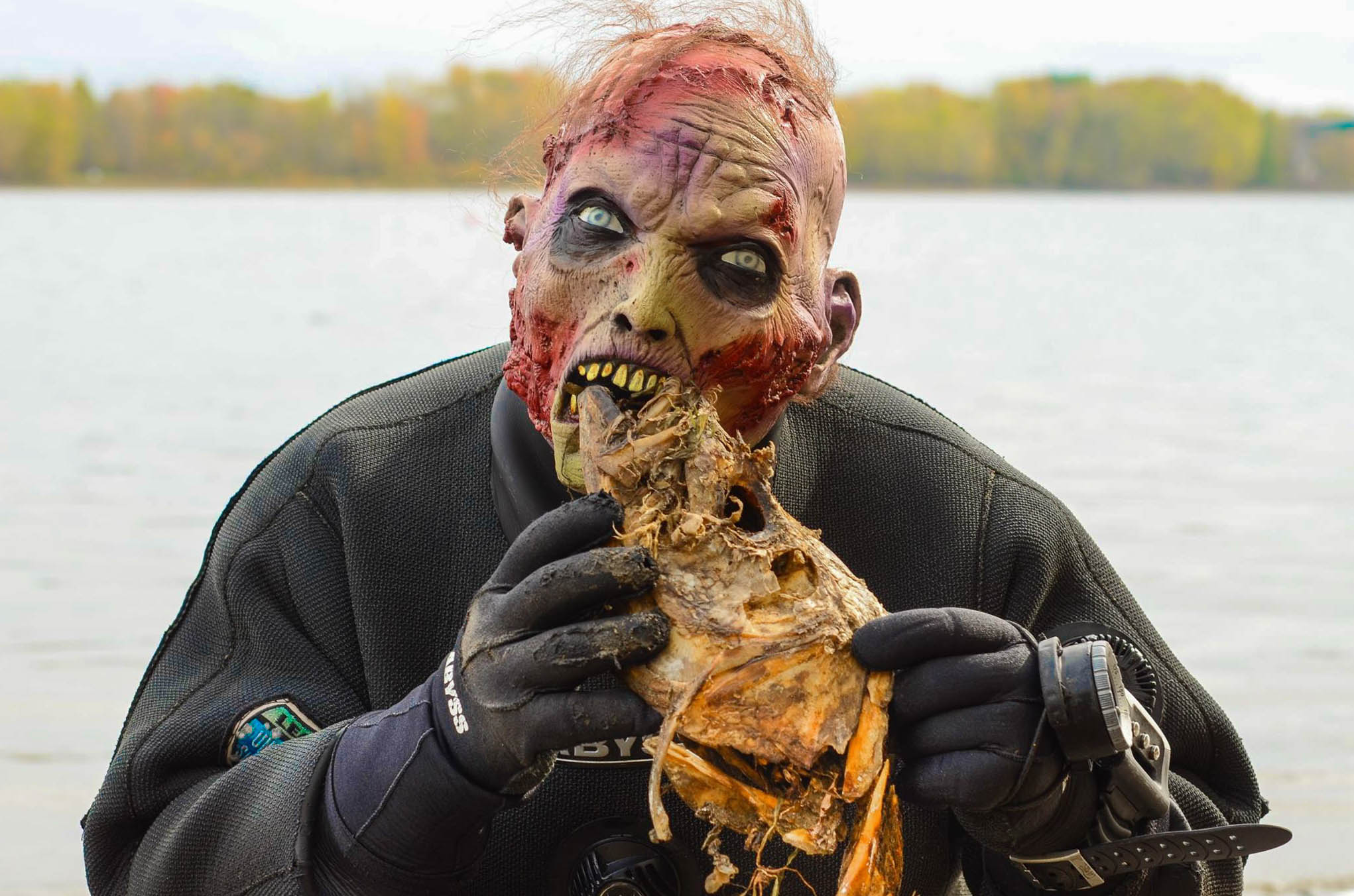 Zombie Eating a Fish at the Dive Course